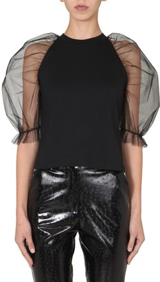 MSGM T-Shirt With Tulle Sleeves