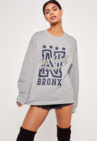 Missguided New York Bronx Sweatshirt Grey