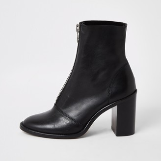 River Island Womens Black leather zip front heeled boots