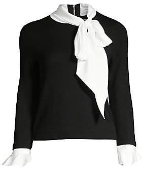 Alice + Olivia Women's Justina Tieneck Wool & Stretch Silk Combo Sweater