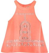 River Island Mini girls coral embellished trapeze top