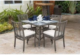 Panama Jack Outdoor 5 Piece Dining Set with Sunbrella Cushions Outdoor Color: Air Blue