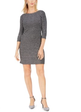 Jessica Howard Petite Houndstooth Glitter-Knit Shift Dress