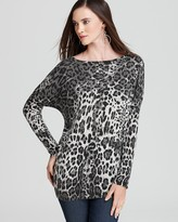 Sisters Lurex Leopard Banded Bottom Pullover Top