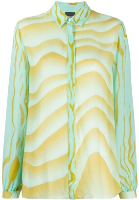 Just Cavalli Wave-Print Loose-Fit Shirt