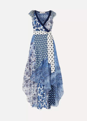 Diane von Furstenberg Ava Printed Lace, Silk Crepe De Chine And Crinkled-chiffon Wrap Dress - Blue