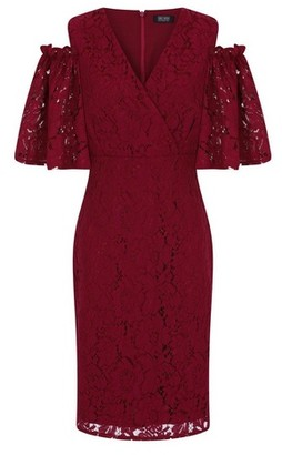 Dorothy Perkins Womens Girls On Film Burgundy Bodycon Dress, Burgundy