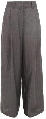 Brunello Cucinelli Wide-leg Pleated Linen Trousers - Womens - Dark Grey