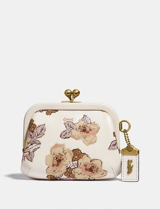 Coach Kisslock Coin Purse With Floral Bouquet Print