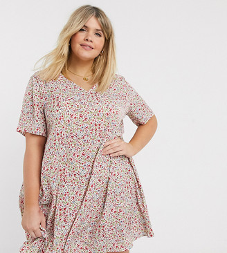 AX Paris Plus v neck swing dress in ditsy floral