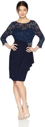 Alex Evenings Women's Shift Dress with Lace Bodice (Petite and Regular Sizes)