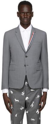 Thom Browne Grey Seersucker Striped Trim Engineered Blazer