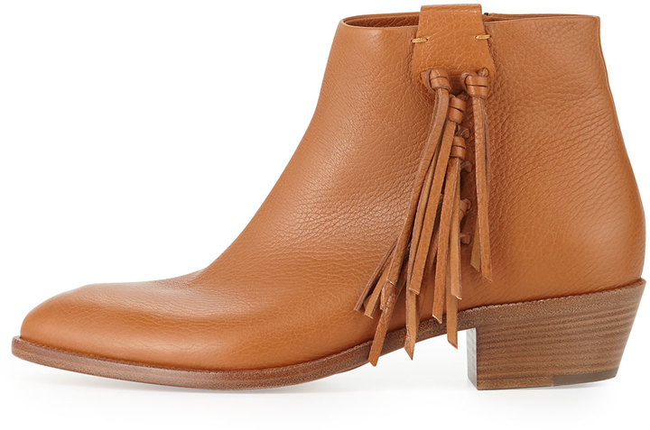 Valentino Side-Fringe Leather Ankle Boot