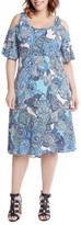Karen Kane Plus Size Women's Cold Shoulder Paisley Midi Dress