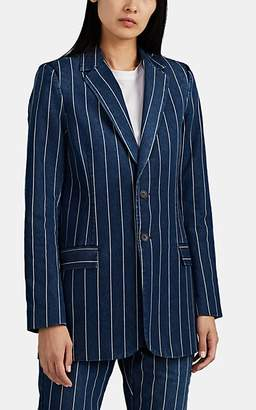 Current/Elliott Women's The Calla Striped Denim Two-Button Blazer - Navy