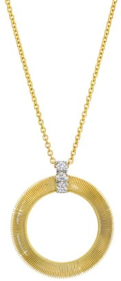 Marco Bicego Masai 18K Yellow Gold & Diamond Coil Circle Pendant Necklace