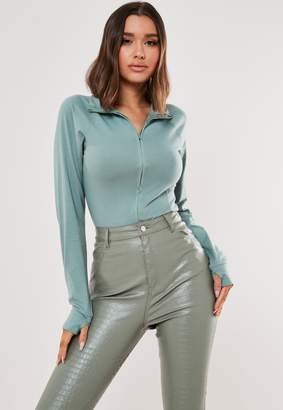 Missguided Teal Zip Through High Neck Top