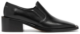 MM6 MAISON MARGIELA Square-toe Block-heel Leather Loafers - Black