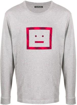 Acne Studios Face-motif long-sleeved T-shirt