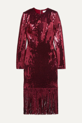 Rebecca Vallance Matisse Fringed Sequinned Crepe Midi Dress - Burgundy