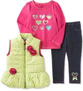 Kids Headquarters Baby Girls' 3-Pc. Puffer Vest, Top & Leggings Set