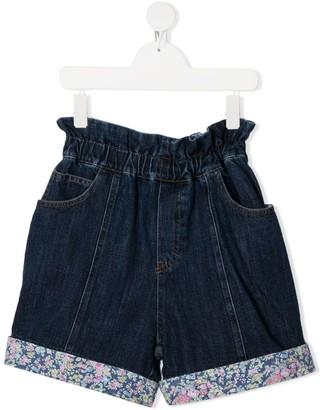 Philosophy Di Lorenzo Serafini Kids TEEN floral cuff denim shorts