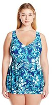 Maxine Of Hollywood Women's Plus-Size Florida Keys Empire Swim Dress Swimsuit