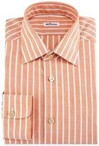 Kiton Bold-Stripe Dress Shirt, Tangerine/White