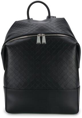 Bottega Veneta Woven Detailed Leather Backpack