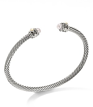 David Yurman Renaissance Cuff Bracelet with Cultured Freshwater Opalescent Pearl & 18K Yellow Gold - 100% Exclusive