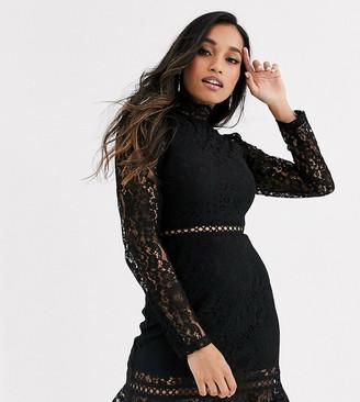 Fashion Union Petite high neck lace dress with flippy hem-Black