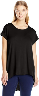 Star Vixen Women's Plus-Size Scoop Neck Short Sleeve High-Low Comfy Knit Tunic Top