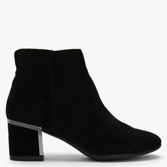 Df By Daniel Enthuse Black Suede Metal Trim Heeled Ankle Boots