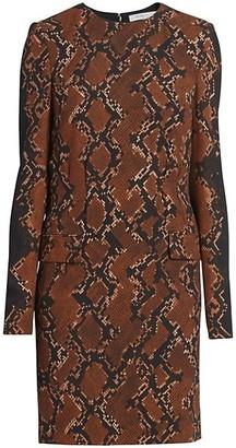 Givenchy Snakeskin-Print Wool-Blend Shift Dress
