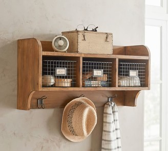 Pottery Barn Wade Wood and Wire Cubby, Weathered Pine