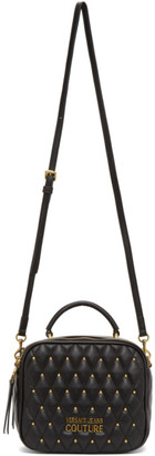 Versace Jeans Couture Black Quilted Studded Crossbody Bag