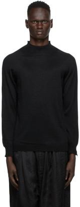 SASQUATCHfabrix. Black High Gauge Mock Neck Sweater