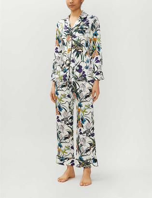 Olivia von Halle Lila Eden floral-print silk-satin pyjama set