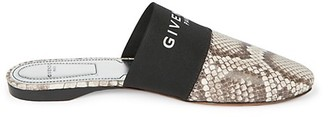 Givenchy Bedford Flat Python-Embossed Leather Mules