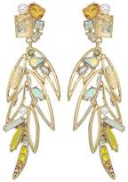 Betsey Johnson Yellow Bird Multi Stone Feather Earrings Earring