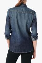 7 For All Mankind Destroyed Slim Western Shirt In Dark Aged Vintage