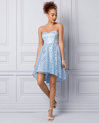Le Château Embroidered Lace Strapless Party Dress