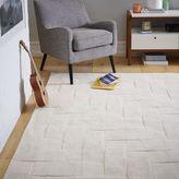 west elm Solid Angled Basketweave Wool Rug - Ivory