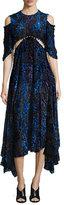 Prabal Gurung Velvet Burnout Short-Sleeve Dress, Black/Blue