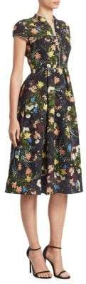Erdem Henrietta Cap-Sleeve Silk Midi Dress