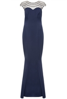 Quiz Navy Embellished Cap Sleeve Fishtail Maxi Dress