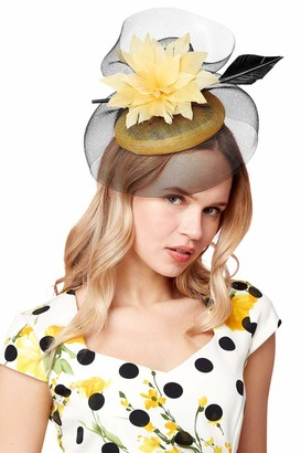 Roman Originals Women Large Flower Veil Pillbox Fascinator - Ladies Smart Special Occasion Evening Wedding Guest Mother of Bride Groom Ascot Races Day Decorative Hat Accessory - Yellow - Size ONE