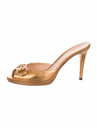 Gucci Horsebit Accent Leather Mules Gold