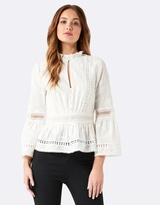 Forever New Abby Embroidered Floral Trim Blouse