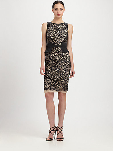 Theia Peplum-Belted Lace Dress